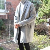 冬季妮子大衣男中长款韩国风宽松呢子风衣潮青年毛呢大衣外套加厚 浅灰色 M