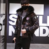 冬季新款迷彩羽绒服男士韩版时尚羽绒衣时尚潮流连帽外套男 迷彩色