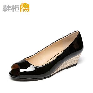 达芙妮旗下SHOEBOX/鞋柜坡跟OL职业工作鞋浅口鱼嘴女鞋