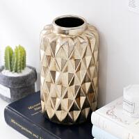 风黄铜金色花瓶家居装饰品摆件现代摆设时尚简约设计花器 雅金色
