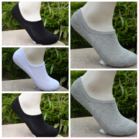 纯棉加厚毛巾底袜男女船袜吸汗浅口运动袜低帮毛圈短袜子 浅灰色 浅口黑2灰2白1
