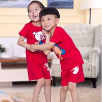 纯棉中大童童装夏装短袖T恤短裤套装2017新款儿童男女童夏季夏天两件套