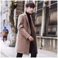 冬季外套男中长款呢子风衣韩版修身潮流加绒加厚毛呢大衣帅气外套
