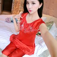 韩版睡衣女夏季短袖性感丝绸两件套装可爱女士冰丝丝绸家居服薄款