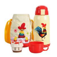 【当当自营】杯具熊(BEDDYBEAR) 儿童保温杯带吸管儿童水杯不锈钢宝宝儿童保温壶学生水杯630ml 白色小鸡