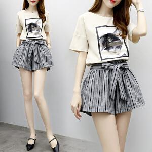 018夏季装新款韩版时髦套装小香风休闲短裤两件套时尚女潮