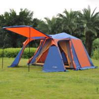 户外露营野外防暴雨两房两室厅多人双层4-5人户外野营旅游用品 铝杆全自动帐篷帐篷户外两室一厅多