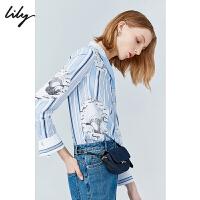 【限时一口价279元】全场叠加100元券 Lily2019秋新款女装条纹波点印花宽松长袖套头气质蓝衬衫女8918