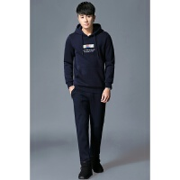 秋冬季套装男青年潮流休闲运动男士韩版两件套连帽卫衣套装加绒男