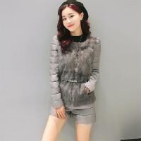 棉衣套装女冬 两件套短裤 皮毛拼接修身显瘦学院风时尚帅气套装女