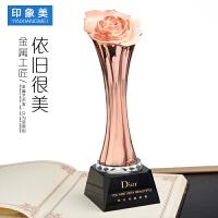 金属奖杯定制玫瑰花水晶奖杯制作创意女性美妆颁奖礼品纪念品