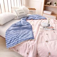 日式可水洗棉夏被空调被夏凉被可机洗简约条纹格子纯棉薄被子