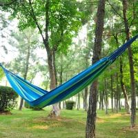 加大加厚双人吊床户外 单人帆布吊床野外野营室外秋千 花色蓝色