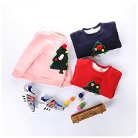 秋冬新款童装韩版女童加厚加绒时尚打底衫圣诞树卫衣169508