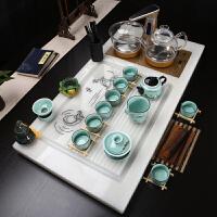 【品牌热卖】茶具套装四合一玉石茶具套装家用简约现代整套欧式自动四合一体电磁炉茶盘茶台 田园汉白玉+手绘青瓷 18件