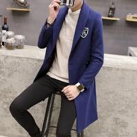 冬季2017新款韩版男士风衣中长款百搭修身妮子外套青年毛呢大衣潮