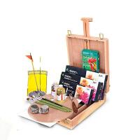 颜料套装油画绘画套装油画架木制 画箱油画工具套装 马利24色 12ml