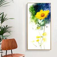 现代玄关背景墙走廊过道装饰画北欧简约竖版单幅挂画风景墙画壁画 向日葵