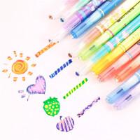 韩酷彩色魔幻变色荧光笔水彩笔创意记号笔标记笔双头变色荧光笔6188(12色套装)