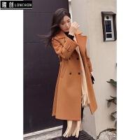 韩版简约气质毛呢外套女冬装新款韩版中长款夹棉小个子呢子大衣女