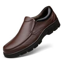 冬季保暖加绒棉鞋商务日常休闲真皮皮鞋软皮厚底宽松男鞋大码4647 暗棕色套脚单鞋 1503