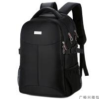 双肩包男士背包商务休闲旅行15.6寸电脑包大初中学生书包女韩版潮流 黑色