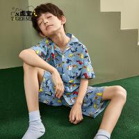 【2件3折:63元】小虎宝儿男童家居服套装纯棉2021新款儿童睡衣夏季中大童潮