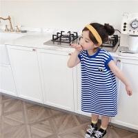 女童T恤裙夏季宝宝中长款裙子宽松海军风套头
