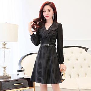 纯色新款春装套头收腰女装2018潮流时尚中长款显瘦修身韩版连衣裙