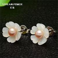 植物花卉韩版甜美小巧贝壳白色花朵纯银耳坠女珍珠耳环耳饰