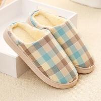 冬季保暖棉拖格子托鞋厚底情侣家居月子鞋女室内防滑毛拖鞋居家鞋CLX
