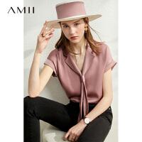 【券后预估价:115元】Amii洋气领带飘带缎面雪纺衫2020夏季新款百搭衬衣短袖V领上衣女