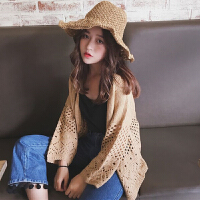 春夏女装韩版宽松镂空编织防晒针织衫毛衣学生长袖小外套开衫外搭