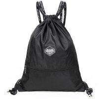 七夕礼物束口袋抽绳双肩包男女通用户外旅行背包防水轻便折叠运动健身包袋 黑色 20-35升