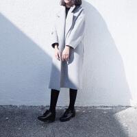 韩观妮子大衣女学生2017新款秋装韩版中长款秋冬毛呢双面黑色外套韩国