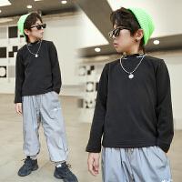 儿童冬装男童打底衫上衣洋气半高领卫衣冬季童装