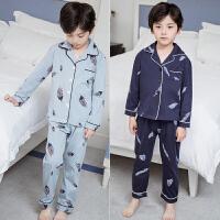 儿童睡衣春秋纯棉长袖小男孩空调服中大童男童夏季薄款家居服套装