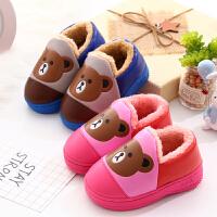 儿童棉拖鞋冬男童女童卡通可爱PU防水宝宝鞋冬天防滑加绒保暖棉鞋