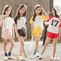 女童夏装2018新款时髦套装韩版洋气中大儿童运动休闲短裤套潮