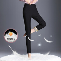 羽绒裤女外穿2017冬季新款高腰显瘦打底裤加厚保暖小脚铅笔裤 黑色