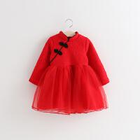 童装冬款新女童旗袍领盘扣连衣裙新年儿童裙子加绒长袖连衣裙唐装