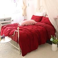 婚庆水洗棉红色爱心刺绣四件套1.8m双人被套床单结婚床上用品