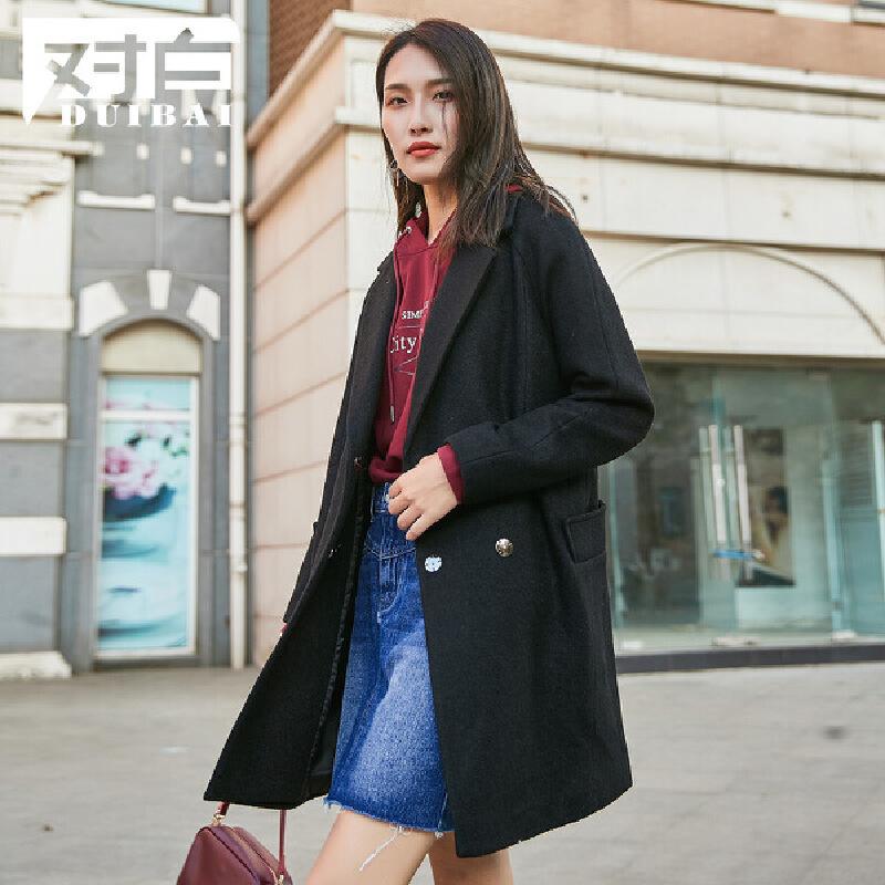 对白落肩翻领直筒毛呢大衣女新款黑色中长款长袖呢外套羊毛混纺 结构分割 插肩袖型 利落帅气