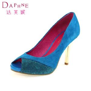 Daphne/达芙妮女鞋 浅口细高跟鱼嘴水钻女单鞋1014102190