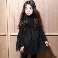 韩国童装秋冬年 亲子装母女 韩版女童高领加厚加绒蕾丝连衣裙