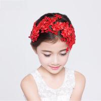 儿童头饰品 童装花童礼服头饰女孩发饰女童镶钻饰品红色表演出 红色