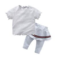 婴儿秋装宝宝t恤女童夏短袖T恤裤子0岁3个月新生儿休闲上衣春秋季