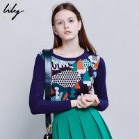 Lily冬新款女装淑女印花短款毛衣圆领修身套头毛衣116410B8364