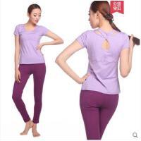 大方简洁优雅短袖长裤女健身服两件套含胸垫瑜伽服套装