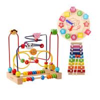 儿童串珠绕珠大号1-2周岁宝宝玩具 1-3岁 6-12个月 +积木时钟+敲琴